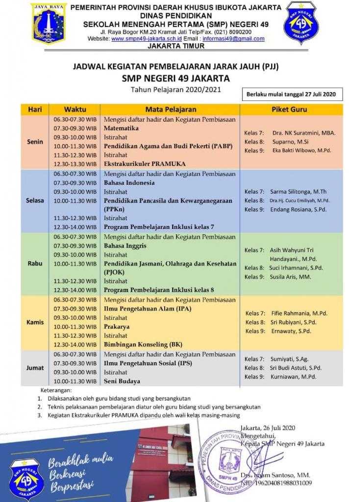 Jadwal Pembelajaran Jarak  Jauh Semester 1 Tahun Pelajaran 2020/2021