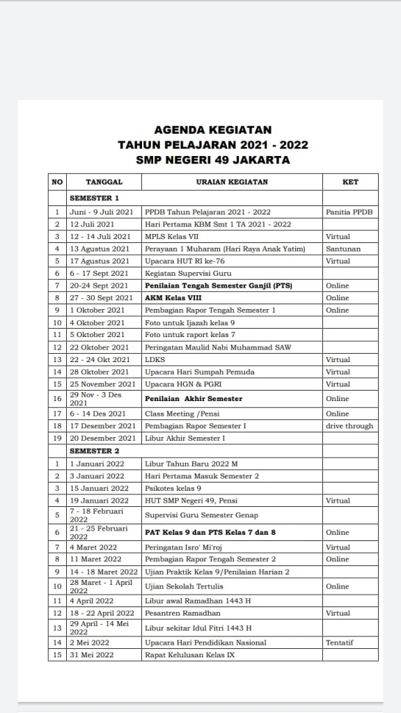 AGENDA KEGIATAN TAHUN PELAJARAN 2021/2022 SMPN 49 JAKARTA